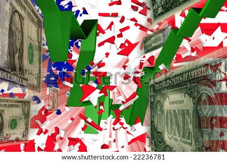 Dollar Rise Stars and Stripes explode and Red and Green 3D Graph and Dollars fly through