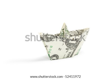 Dollar ship on white background with shadow. Currency concept