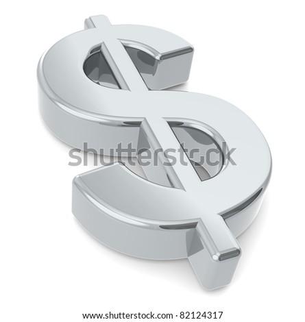 Dollar sign. A 3D dollar sign. Metal - stock photo