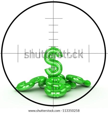 Dollar sign and sniper target