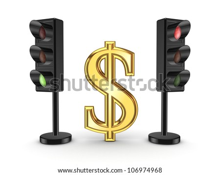 Dollar sign between traffic lights.Isolated on white background.