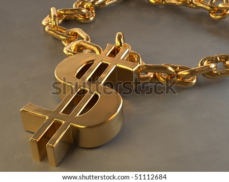 Dollar sign chain necklace isolated on gray background