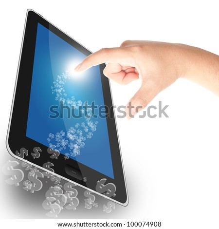 Dollar sign coming out from tablet PC, concept for business profit