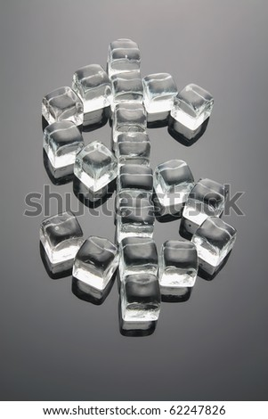 Dollar Sign Formed by Ice Cubes with Reflection