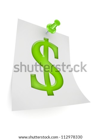 Dollar sign icon.Isolated on white.3d rendered.
