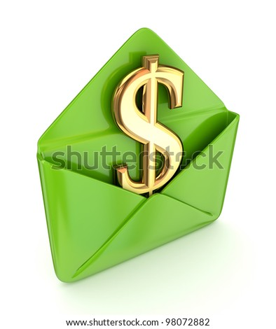 Dollar sign in a green envelope.Isolated on white background.3d rendered.