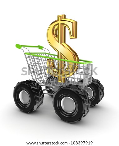 Dollar sign in a shopping trolley.Isolated on white background.3d rendered.