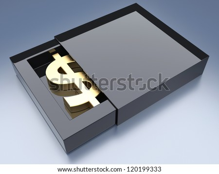 Dollar sign in box vault. 3d conception