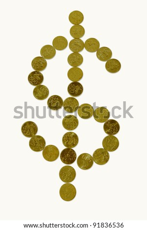 Dollar sign made of golden coins