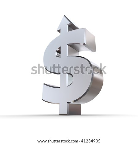 dollar sign made of solid metal with arrow up stands on white ground