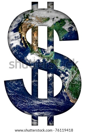 Dollar sign with earth texture.