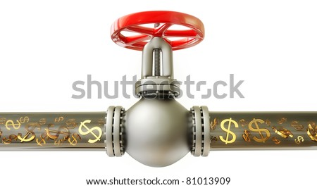 dollar signs are flowing in the pipe on a white background