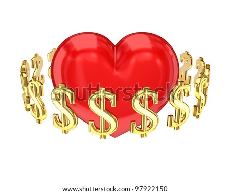 Dollar signs around red heart.Isolated on white background.3d rendered.