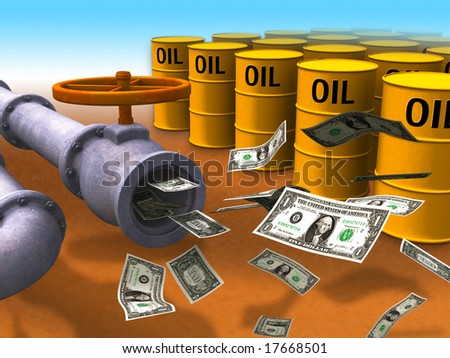 Dollar stream coming out of some oil pipes. Digital illustration.