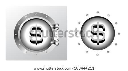 Dollar symbol and banking safe in porthole form