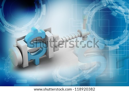 dollar symbol being squeezed in a vice - stock photo