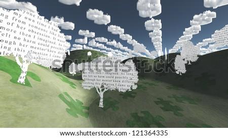 Dollar symbol clouds in strange landscape