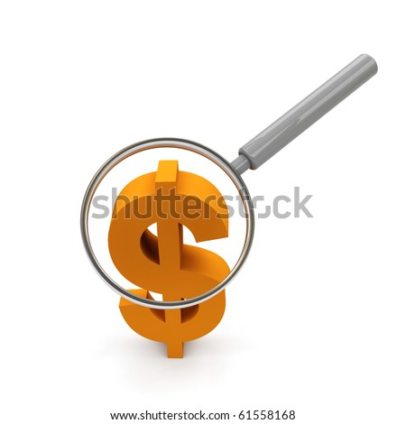 Dollar symbol under magnifying glass.