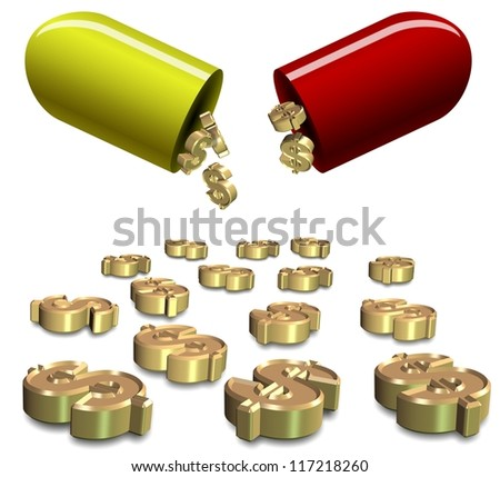 Dollar symbols falling from open capsule on the white background / Health insurance cost