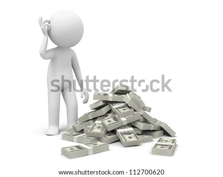 Dollar/think/a person thinking in front of  bundles of dollars