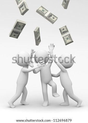 Dollar/three people snatching bundles of dollars