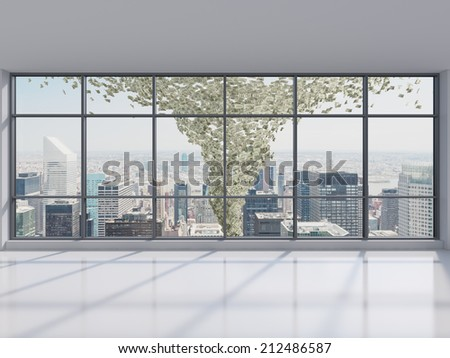 Dollar tornado and Manhattan office city view