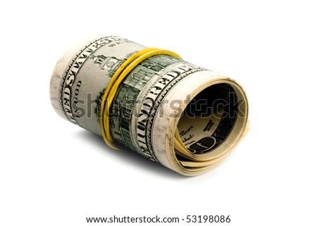 dollar tube on white background