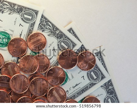 Dollar (USD) banknotes and coins, currency of United States (USA)