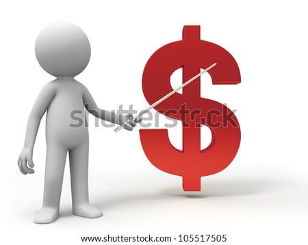 dollars/A man is explaining the dollars