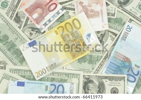 Dollars and euro background, close up