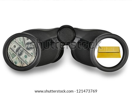 Dollars and gold signs in binoculars