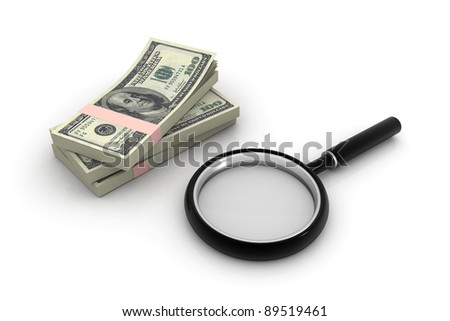 Dollars and magnifying lens