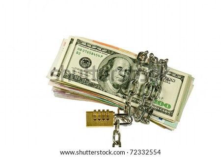 Dollars and other banknote with chain on white background