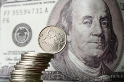 dollars and rubles. concept of currency exchange. Economic crisis, decline of the world economy. Ruble devaluation. The fall of the Russian currency. Currency exchange at the Bank. sharp drop ruble's