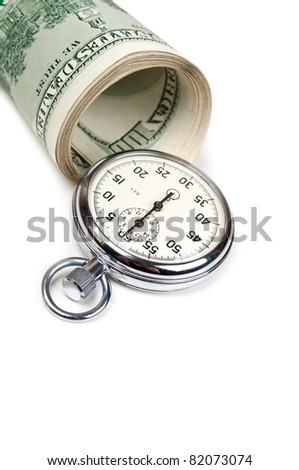 dollars and stopwatch isolated on a white background
