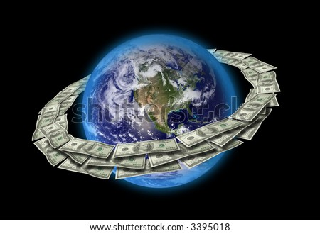 Dollars Around The World. Original World map texture used from (http://visibleearth.nasa.gov).