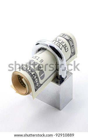Dollars Banknote bills Cash Locked for Money Saving Insurance Concept