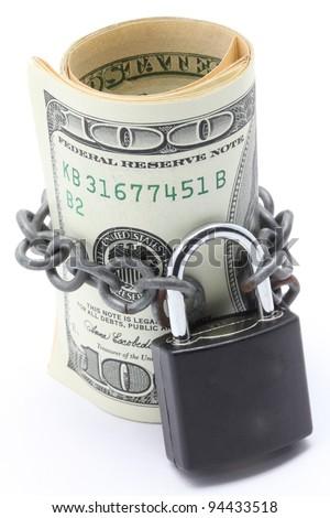 Dollars Banknote bills Cash Locked for Money Saving Insurance Concept