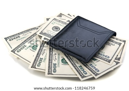 dollars bills in wallet isolated on white