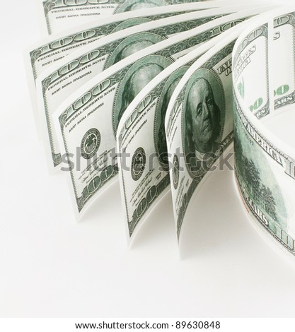 dollars close-up photo on a white