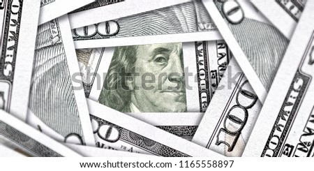 Dollars Closeup Concept. American Dollars Cash Money. One Hundred Dollar Banknote. 100 Dollars bill and portrait Benjamin Franklin on USA money banknote, 3D rendering Cash money investment profit