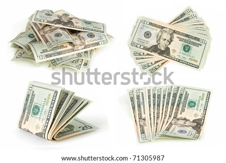 dollars collection isolated on white