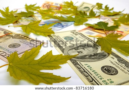 Dollars, Euro and autumn leaves on a white background