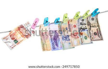 Dollars, euro, rupiah, dong and rubles #249717850