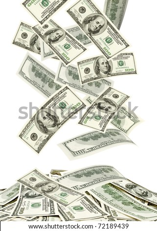 Dollars falling to the stack of dollars