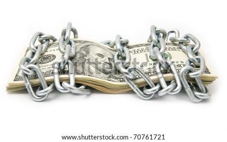 dollars in a chain on a white background - stock photo