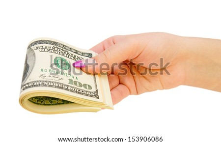 Dollars in a hand. On a white background.