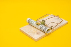 Dollars in a mousetrap with a hundred dollar bill on a yellow background with a copy space
