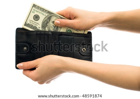 Dollars in black leather wallet isolated on white background