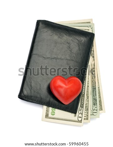 Dollars in black male wallet isolated on white